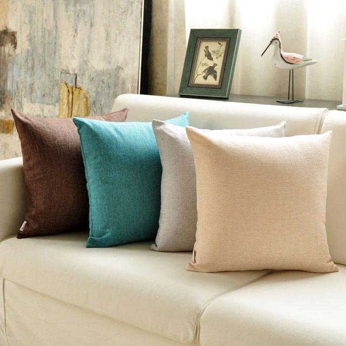 奇奇店-簡約加厚亞麻純色大抱枕靠墊套沙發靠背辦公室汽車布藝床頭腰靠枕(尺寸、是否含芯價格不同)