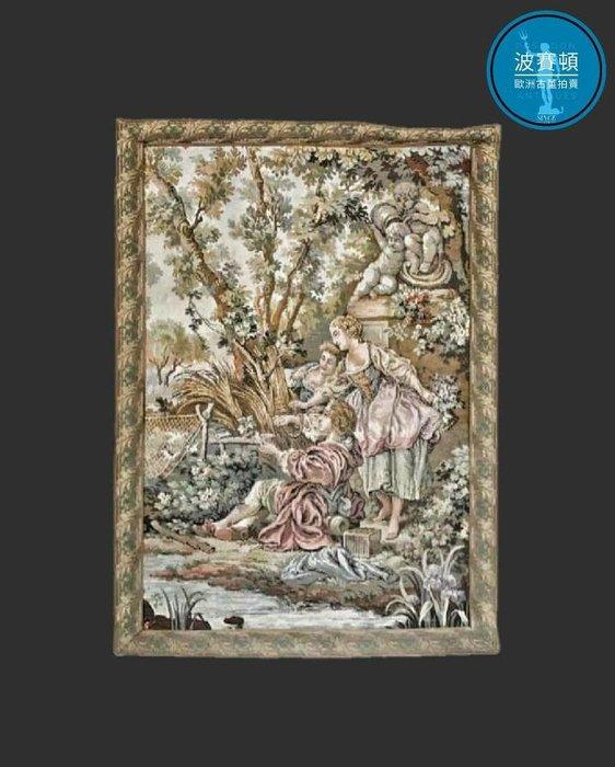 【波賽頓-歐洲古董拍賣】歐洲/西洋古董 法國早期 20世紀 洛可可風格音樂場景1(Style Gallant)壁毯/掛毯(尺寸:108x78公分)