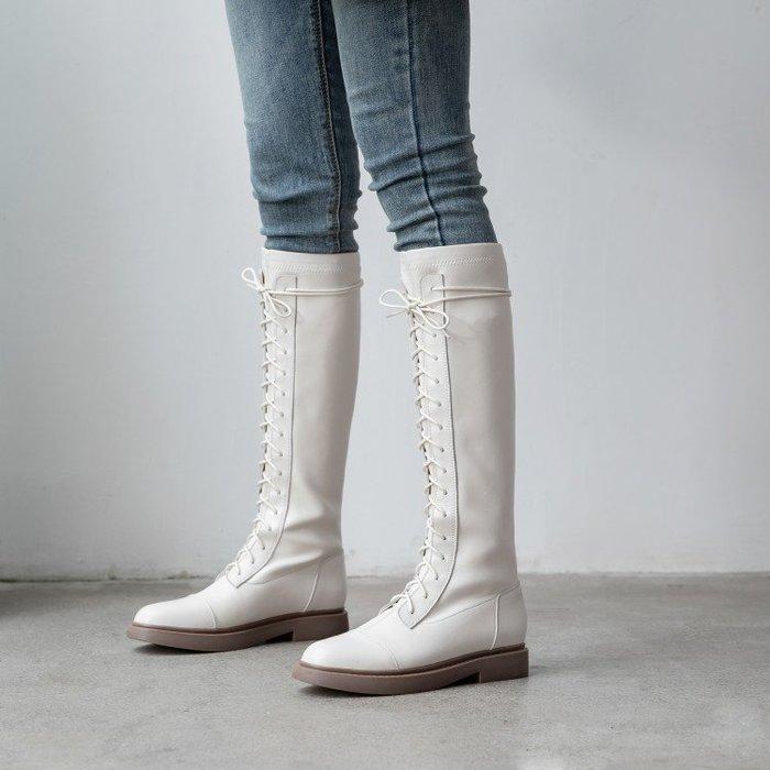 『Alice❤愛麗絲』前系帶高筒騎士靴平底長靴女不過膝馬靴直筒靴圓頭秋冬潮靴