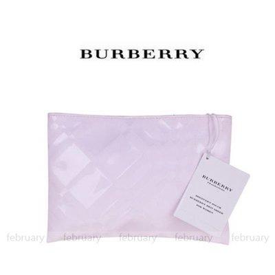 february 小舖 - [全新真品] BURBERRY 粉紅風格化妝包  手拿包 内附彩妝鏡