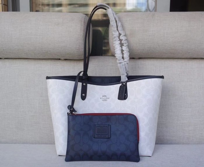 美國名品折扣店~ 特賣 COACH 91381 新款托特包 雙面子母包 女式手提包 購物包 媽咪包