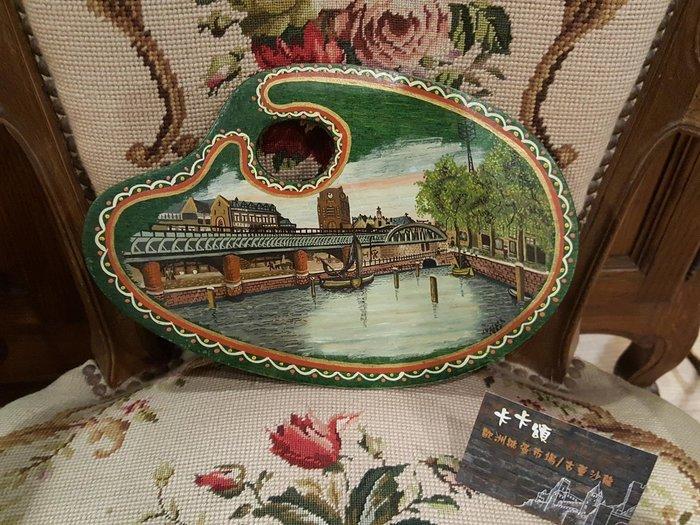 【卡卡頌 歐洲跳蚤市場/歐洲古董】歐洲老件_荷蘭鹿特丹 風景手繪調色盤造型木盤 收藏 擺飾 w0102✬