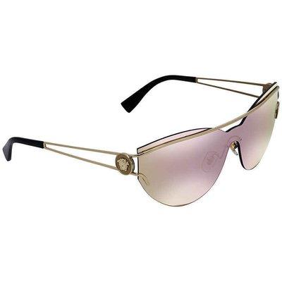 Versace Grey Mirror Yellow Rose Rectangular  VE2186 12524Z 38男太陽眼鏡
