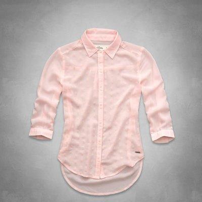 【天普小棧】abercrombie A&F velvet dot chiffon shirt五分袖雪紡襯衫Kids XL