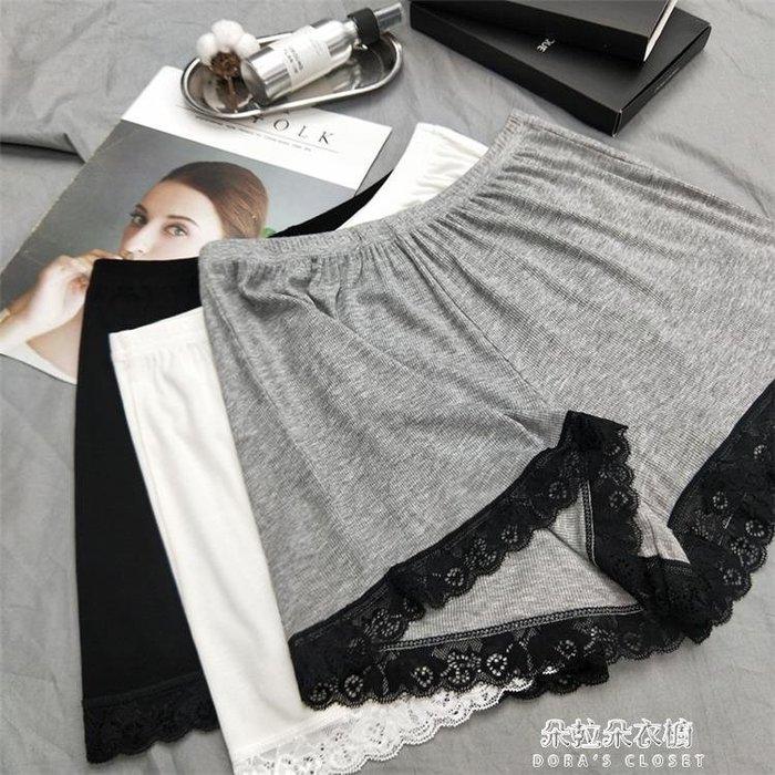 內搭褲 夏季冰絲棉螺紋安全褲鬆緊腰蕾絲邊內搭短裙褲睡褲