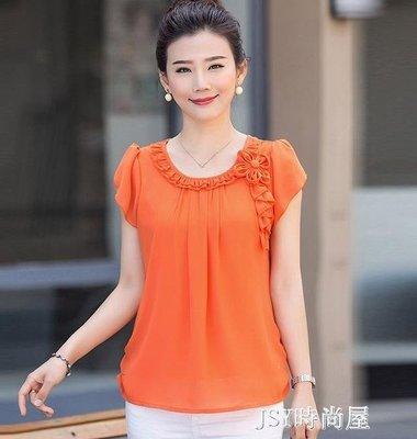 日和生活館 中年婦女胖媽媽裝夏季寬鬆大碼短袖T恤40歲50歲上衣雪紡衫襯衣服 S686
