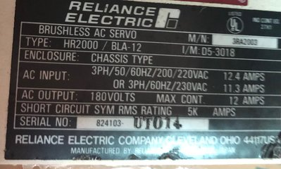 RELIANCE AC SERVO 伺服器 控制器 HR2000/BLA-12 中古品 現貨