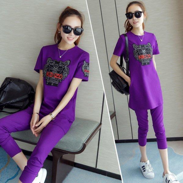 預購-新款韓版夏季孕婦時尚休閒運動棉短袖套裝
