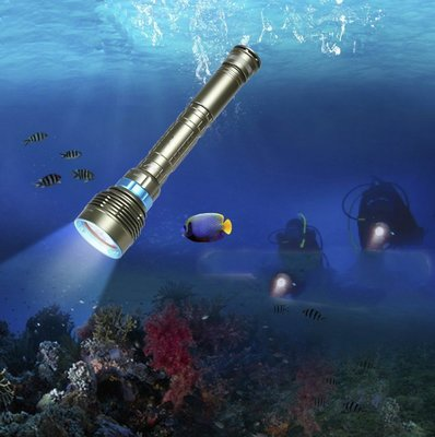 送電池14000LM 水下200米 超強7燈CREE L2*7潛水手電筒防水強光照明手電筒磁控可用18650二顆或三顆
