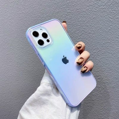 夏日紫色夢幻漸變iPhone12手機殼半透蘋果12Pro Max防摔xs/xr男女現貨