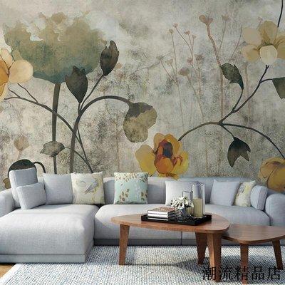 手繪油畫花卉復古懷舊臥室客廳壁紙現代簡約無紡布墻紙訂製壁畫