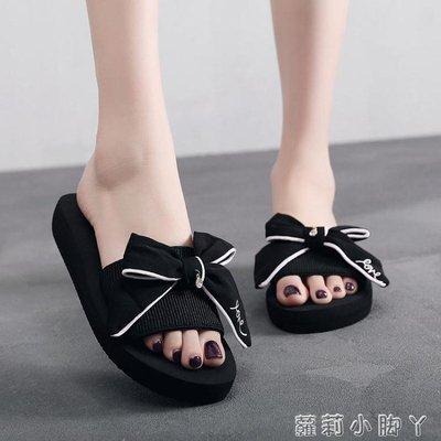 一字拖拖鞋女夏外穿時尚沙灘鞋海邊厚底厚底楔形涼拖防滑一字拖百搭韓版