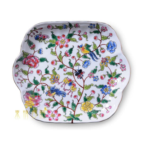 【芮洛蔓 La Romance】東情西韻系列棕枝花鳥玉蘭盤8吋