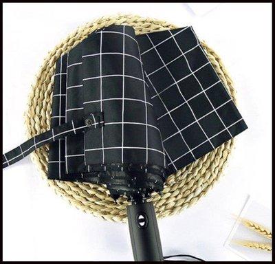 哆啦本鋪 森系全自動格子傘男女士黑膠遮陽傘加大加固防風三折疊晴雨傘兩用D655