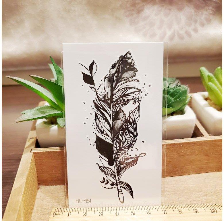 【萌古屋】黑色羽毛 - 男女防水紋身貼紙刺青貼紙HC-451
