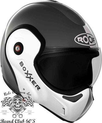 ♛大鬍子俱樂部♛ ROOF® Boxxer Face 法國 街車 多功能 汽水帽 180度掀蓋 全罩 安全帽 鈦灰/白