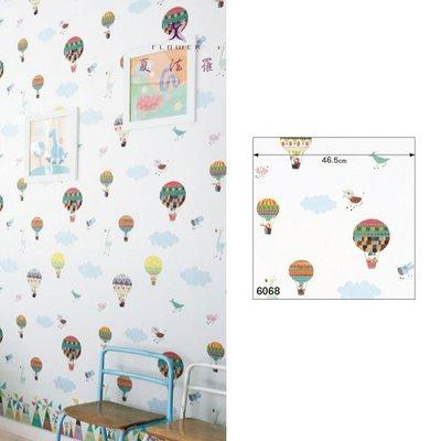 【夏法羅 窗藝】日本進口 可愛童趣 熱氣球 繪畫風 壁紙 BB_050068