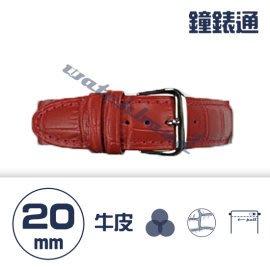 【鐘錶通】C1.08KW《繽紛系列》鱷魚壓紋-20mm 火紅┝手錶錶帶/高質感/牛皮錶帶┥