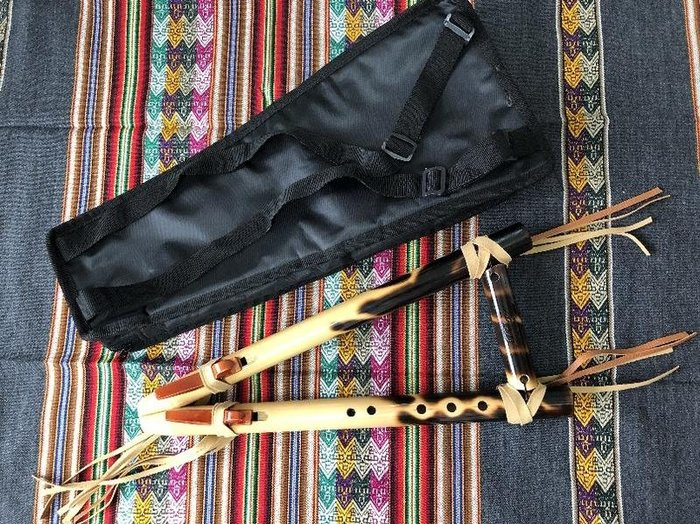 """秘魯原裝進口-名牌專業竹製雙排5孔""""B""""且若給笛--flauta cherokee doble--附笛袋"""
