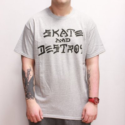 【THRASHER】Skate And Destroy 純棉圓筒Tee (灰色)