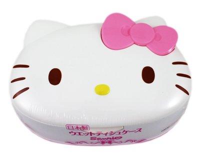 【卡漫迷】 Hello Kitty 溼紙巾 按壓盒 ㊣版 日本製 80枚 收納盒 桌上型 盒裝 造型 純水 無香精