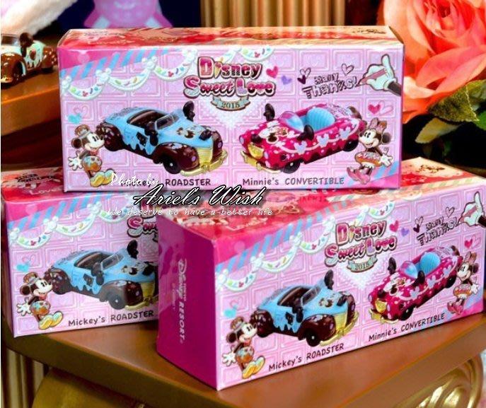 Ariel's Wish日本東京迪士尼sweet love米奇米妮情人節禮物TOMICA情侶小車多美小車兩入組-絕版品