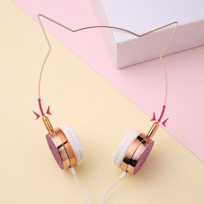 ?網紅學生貓耳朵耳機頭戴式女生可愛萌潮韓版有線帶麥發箍式全館
