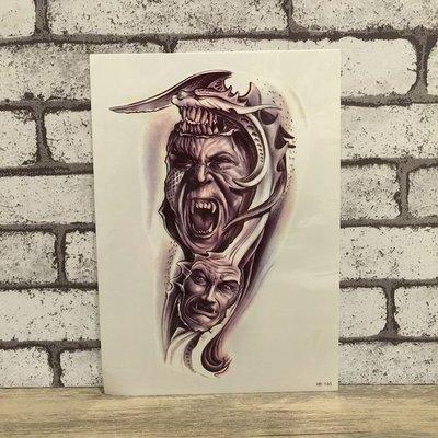 【萌古屋】刀刃之臉花臂手臂大圖 - 男女防水紋身貼紙原宿刺青貼紙HB-165
