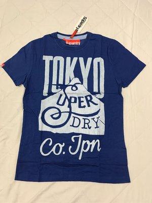 Superdry SD 極度乾燥 男生藍色 印刷 圖案M號 全新正品 香港superdry 店內購回 全新正品