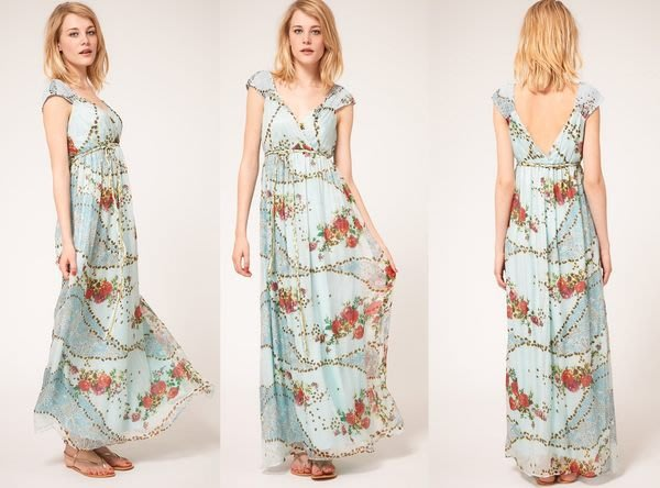 【ASOS WORLD】英國直送  現貨特價 浪漫女神高腰無袖水藍印花柔滑飄逸100% 絲質長洋裝 UK8