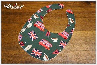 ♥gritas handmade♥純棉手作嬰幼兒圍兜兜/領巾/口水巾/三角巾/彌月禮—英倫風