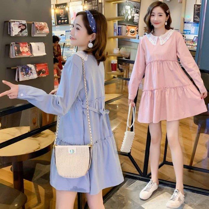 花兒 貴族蕾絲領洋裝 【D0110】韓系 質感 長袖 連衣裙  洋裝