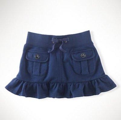 【全新正品】Ralph Lauren 深藍厚棉口袋小波浪短裙~6號 ~現貨在台