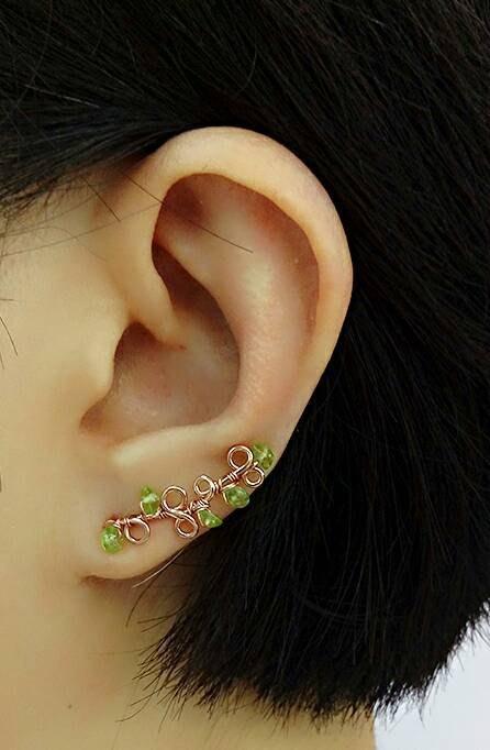 橄欖石耳夾 玫瑰金耳環 .Jill&Joe獨家14K金盤線 手作設計.抗過敏.天使2way魔法.2種戴法