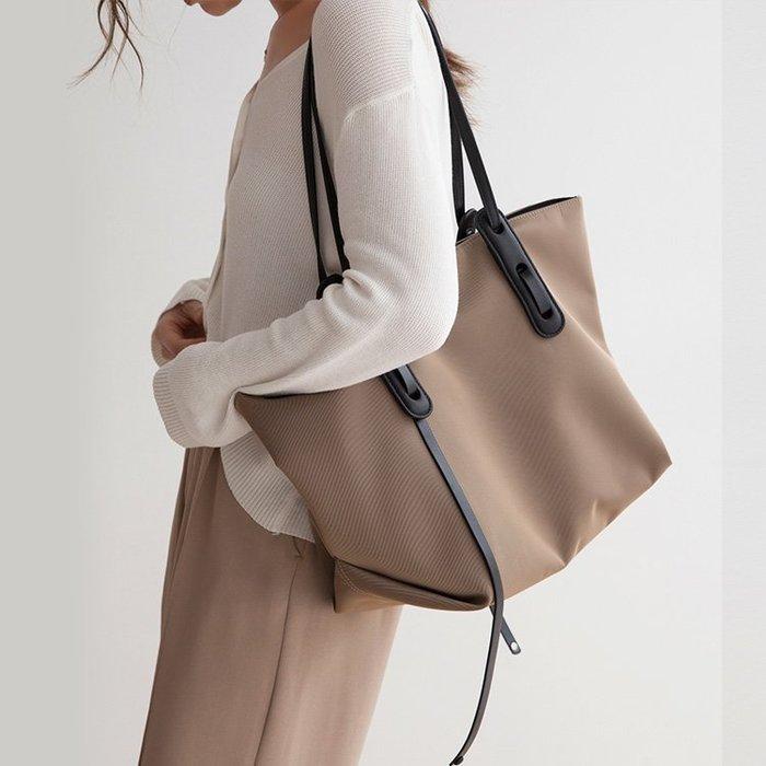 【極簡時尚】真皮防水牛津包上班族托特包子母包單肩包媽媽包手提包