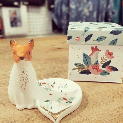 [SECOND LOOK]英國雜貨 森林裡的小狐狸 立體 戒指架 珠寶碟 附禮盒