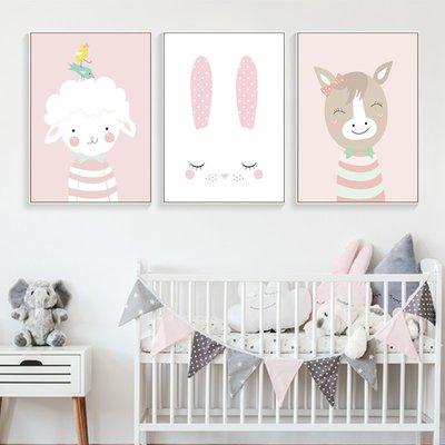 C - R - A - Z - Y - T - O - W - N 清新動物兒童房裝飾畫男孩女孩北歐臥室床頭掛畫卡通掛畫