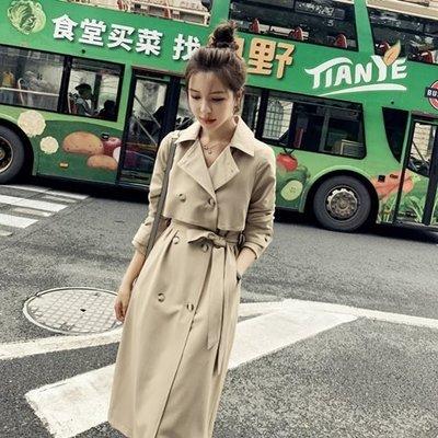 風衣 大衣 長款外套-雙排扣修身繫帶復古女外套73yt5[獨家進口][米蘭精品]