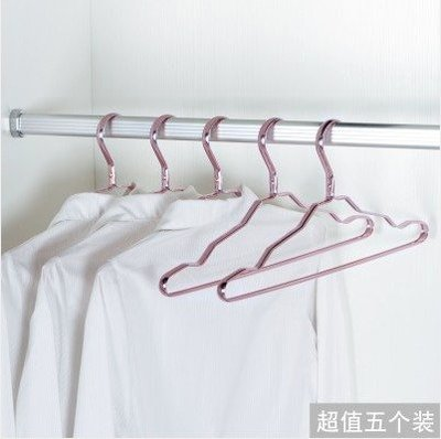 【Love Shop】太空鋁防滑晾曬衣/衣架加寬不變形無痕衣撐子掛衣架(5入)