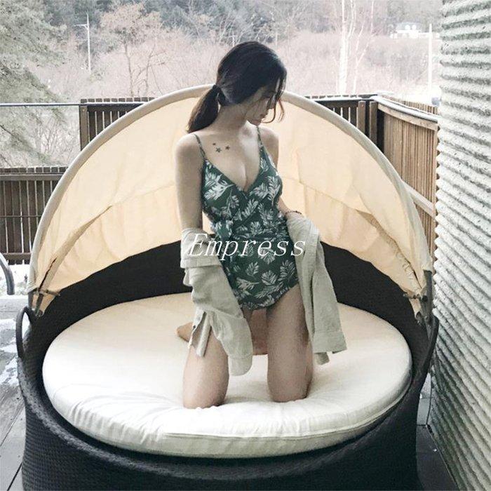 Empress丶大漁泳衣  性感氣質深V大胸遮肚顯瘦側腰綁帶三角連身游泳衣女