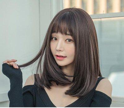 假髪女短髪長直髪逼真自然中長髪頭套圓臉長髪網紅氣質修臉鎖骨髪