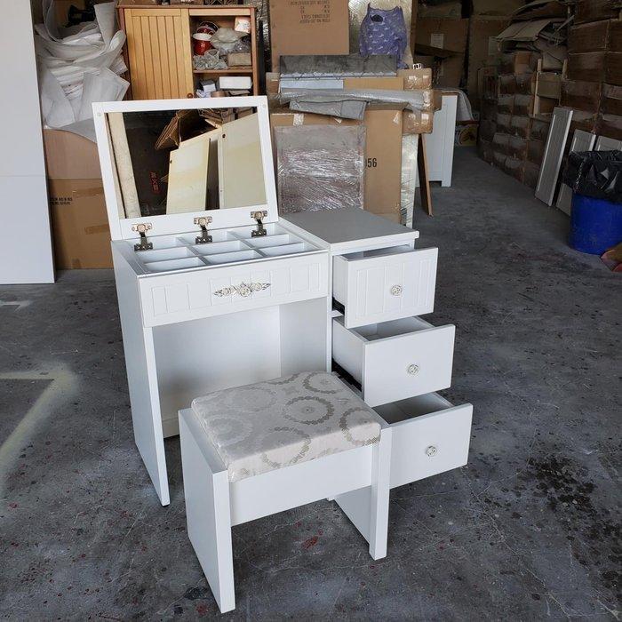 美生活館 鄉村傢俱訂製 客製化 純白色 掀蓋收納鏡台 ( 含椅+九宮格)  化妝台 梳妝台可當書桌 也可修改尺寸與顏色