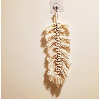 【萌古屋】北歐風手工棉繩單支白色羽毛掛飾