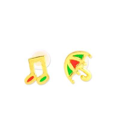 【JHT 金宏總珠寶/GIA鑽石】0.34錢 音符雨傘黃金耳環(請詳閱商品描述)