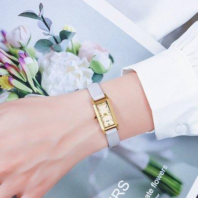 Louis手錶代購現貨日本ins風小方錶ete方形皮帶手錶女士復古 簡約日系小眾石英腕錶