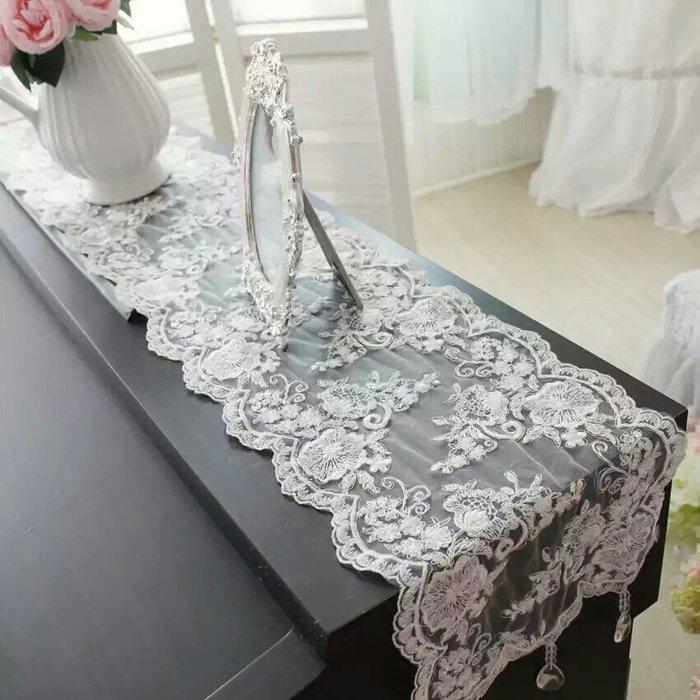 粉紅玫瑰精品屋~韓版奢華水晶吊墜蕾絲桌旗~