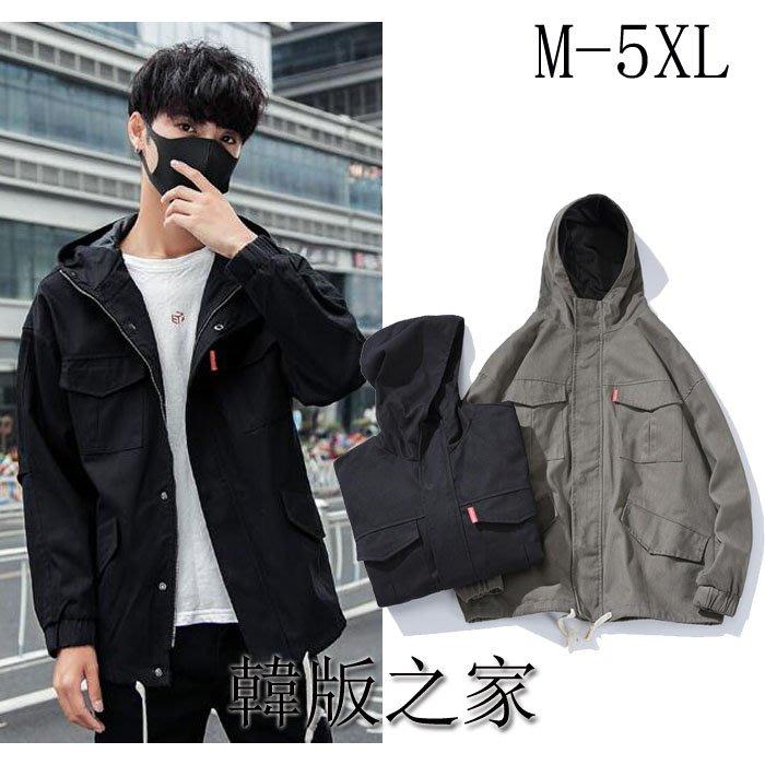 韓系新品日系連帽抽繩飾大碼男工裝寬松夾克外套   M-5XL   Y139