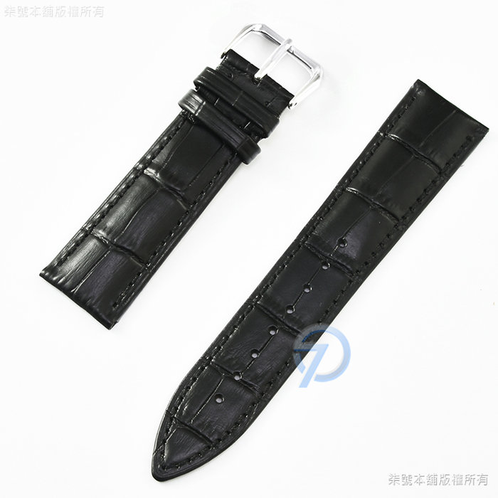 【柒號本舖】通用型真皮錶帶-竹節紋路黑色