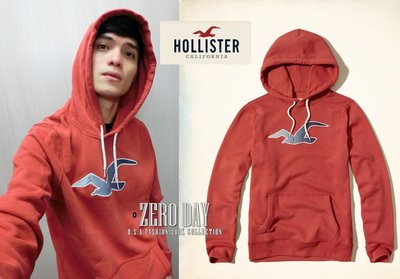 【零時差美國時尚網】A&F副牌真品Hollister Patter Icon Graphic Hoodie海鷗連帽T紅色