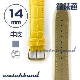 【鐘錶通】C1.40AA《霧面系列》鱷魚格紋-14mm 霧面橙黃┝手錶錶帶/皮帶/牛皮錶帶┥